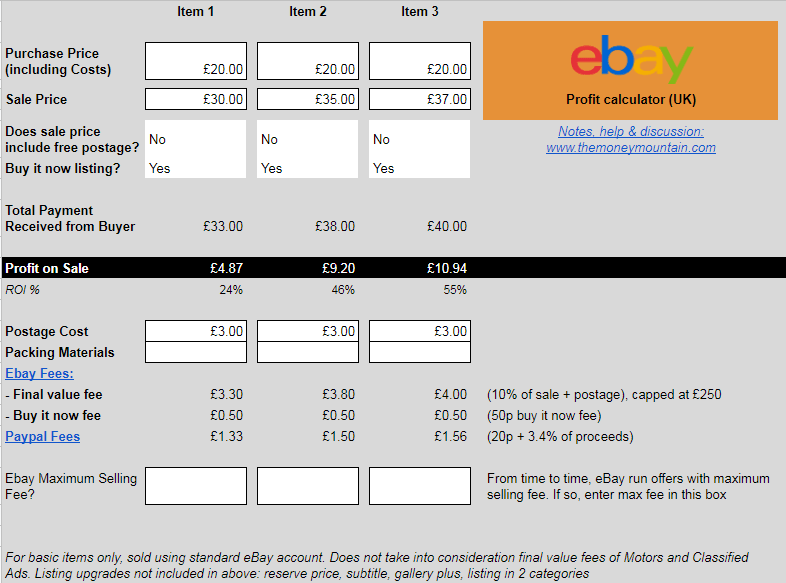 Ebay Profit And Fees Calculator Uk The Money Mountain